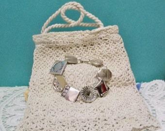 Silver Tone  Cufflink Bracelet ~ Original Deco Second Time Around Cuff Link Top Settings ~ Unique OOAK Wearable Art Jewelry