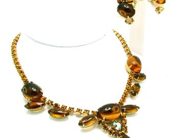 Vintage Necklace Earrings Set Large Topaz Oval Cabochons & Marquise Navettes
