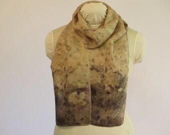 "Natural Dye Eco Fashion - Plant-Dyed Silk Scarf - Brown Green Purple -  HA8161121  - 8""x70"" (20 x 177cm)"