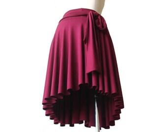Womens skirts, A line skirt, Wide waist band skirt, Asymmetric skirt, Burgundy bordo skirt, Full skirt, Plus size skirt, Plus size clothing