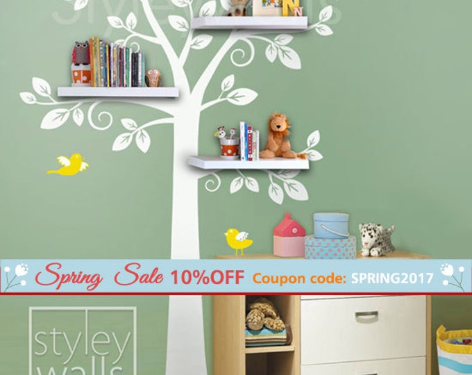 Shelf Tree Wall Decal Nursery Decal Wall Sticker, Shelves Tree Decal, Nursery Tree Decal, Kids Room Decor Sticker, Shelving Tree Wall Decal