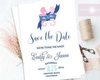 Nautical Save the Date, Save the Date Printable, Seahorse Invite, Hens Party Invite, Nautical Invitation, Blue, Navy, Pink, jadorepaperie