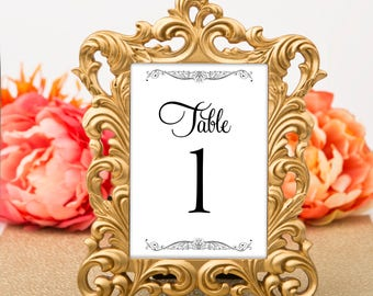 Table Numbers - Flourished Black and White Vintage Glam / Wedding / Bridal Shower / Baby Shower / Birthday Party