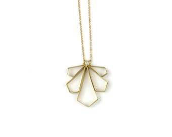 Necklace - Small Angled Wing Fan - Brass