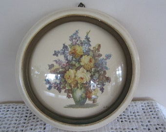 Vintage Framed Floral Print Convex Glass