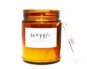 Snuggle in Winter Mint Soy Candle in Amber Glass Jar with Silver Lid