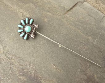 Antique Stick Pin Tiny Turquoise Stones. Sterling Silver Stick Pin