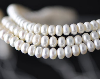 """White Freshwater Button Pearls 7mm, Fresh Water Pearl Rondelle Beads- (PL01-13)/ 15.5"""" Full strand"""