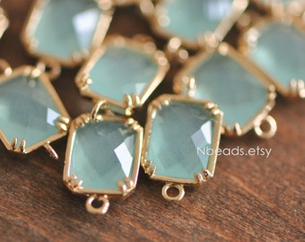 5pcs Seafoam Green Crystal Connector 16mm, Gold plated Brass Frame, Square Bezel Glass Connector (GB-007)