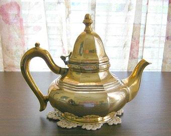 Solid Brass Teapot Decor Vintage Brass Teapot Brass Tea Pot Decor Tea Kettle Wedding Gift Made in India Brass Metal Teapot Decorative Teapot