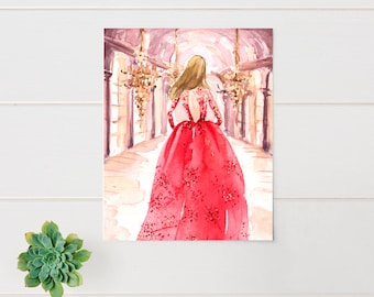 Fashion Illustration Print - Zuhair Murad - Fashion Sketch - Watercolor-Home Decor-Couture - Runway -Palace - Princess by Rhian Awni on Etsy