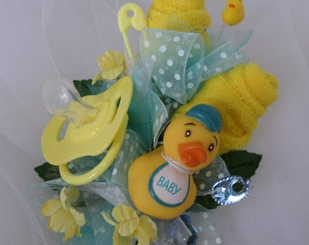 Rubber Duck Baby Shower Corsage - Pin On Baby Boy Corsage - Baby Shower Gift - Mommy Corsage - Pacifier and Washcloths