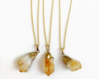 Citrine Necklace, Raw Citrine Necklace, Gold Filled Birthstone Jewelry,  Modern Tribal Lapidary Pendant