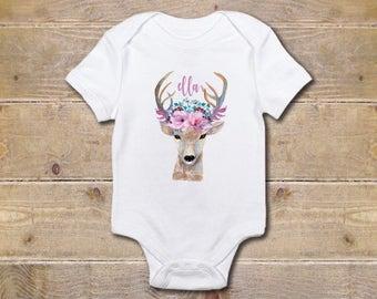 Deer, Deer Baby Onesie, Flowers, Unique  Onesie, Bohemian, Boho, Baby Shower Gift, Baby Clothes, Shirt, New Baby Gift, Baby Girl, Summer