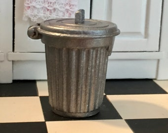 Miniature Metal Garbage Can With Attached Lid, Dollhouse Miniature, 1:12 Scale, Mini Trash Can, Silver Garbage Can, Dollhouse Accessory