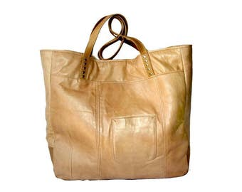 Uptown Tote - Upcycled Nude Tan Beige Leather Beach Bag - with Striped Lining