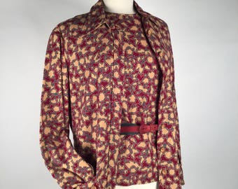 Vintage 70s Bill Blass 3 Pc Set, Top, Jacket, Belt, Abstract Floral, Burgundy, Beige, Turquoise, Wool, Suede, Button Front, Two Tone Belt