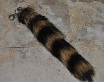 Real Beautiful Raccoon Tail Keychain