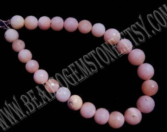 Pink Opal Beads, Round Faceted Beads (Quality B) / 6.50 to 8.50 mm / 18 cm / PIN-070 / Semiprecious Gemstone Beads