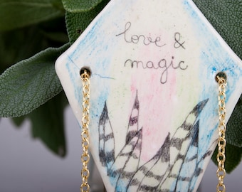Love and Magic Necklace, Air Dry Clay, Pencil Drawing, Ceramic Pendant, Plants, Boho Chic, Tribal, Handmade Jewelry, Modern, Geometric