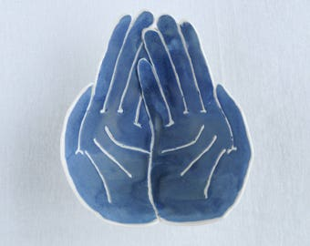 RECEIVING HANDS bowl. Matt blue white porcelain bowl spiritual ceremonies spirit winks thank the universe mementos gratitude candle bowl