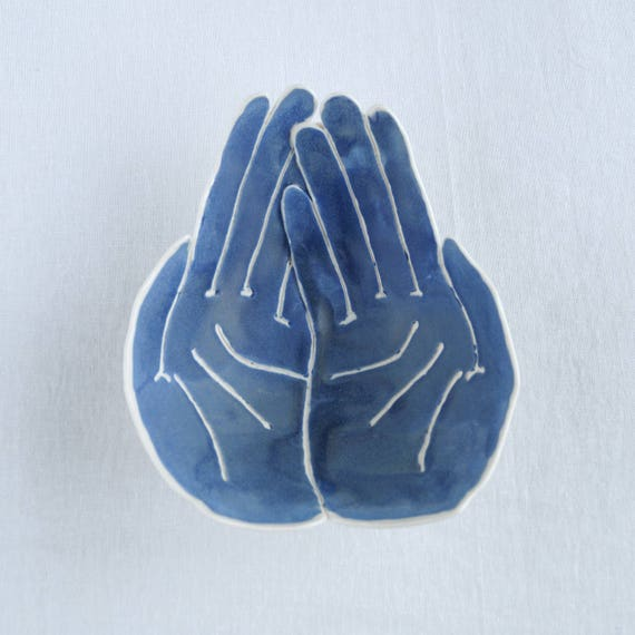 RECEIVING HANDS bowl. Matt blue white porcelain bowl spiritual ceremonies spirit winks thank the universe mementos gratitude candle bowl