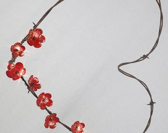 Barbed Wire Heart Red With Golden Filigree Twining Forever Blooming Flowers