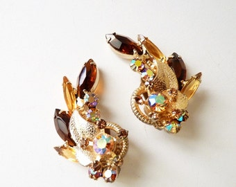 Vintage Juliana Gold Leaf Earrings with Topaz and AB Rhinestones - Book Piece by Delizza and Elster