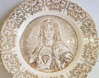 Vintage Sacred Heart Mother Mary 22K Warranted Gold Mid Century Display Plate