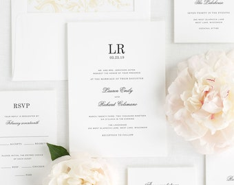 Timeless Monogram Wedding Invitations - Sample