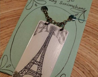 Scrimshaw Necklace Intricate Eiffel Tower Design OOAK Great Gift Idea