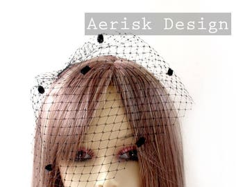 Black Chenille Dot Blusher Veil (4 color option) Hat veiling for pill box hats, Birdcage style russian veil for teaparty and derby