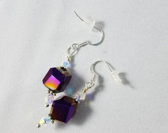 Sterling silver 10 mm deep purple and swarovski crystal earrings match Purple cube tin cup necklace crystal necklace