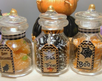 12th Scale Dolls House Set Of 3 Spooky Jars of Halloween Candies