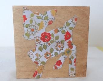 Fawn Picture - Deer Silhouette Wood Canvas - Baby Deer Art - Retro, Kitsch Wall Hanging - Decoupage Orange, Yellow Flora - Woodland Reindeer