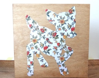 Deer Silhouette on Wood -  Fawn Woodland Nursery - Baby Deer Art - Kitsch Wall Hanging - Decoupage Yellow Flowers - Paper Cut Reindeer