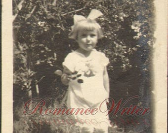 Pretty Young Girl White Dress and Large White Hair Bow Vintage Photograph