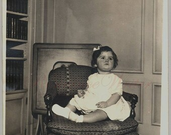 Are You Finished Yet Vintage Photo of a Cute Little Girl in a Big Chair