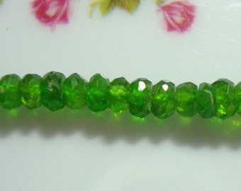 """3"""" strand, 3.5 mm Chrome Diopside Faceted Rondelle Bead,Organic cut"""