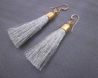 Fringe Earrings -- Soft Earrings -- Light Grey Earrings -- Cloth Earrings -- Fabric Earrings -- String Earrings -- Grey & Gold Earrings