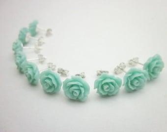 Aqua Party Favors -- Sterling Rose Studs -- Mint Studs -- Aqua Studs -- Earring Party Favors -- Mint Flower Earrings -- Mint Post Earrings