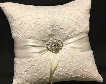 Ivory or White Lace & Rhinestone Accent Wedding Ring Bearer Pillow