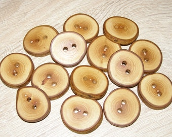"""14 Handmade olive wood buttons , accessories (1,1"""" diameter x 0,20"""")"""