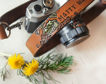 Leather Camera Strap - Woodland Theme - Personalized - Hand painted - Made to Order by Mesa Dreams - Mountains, pine trees, hiking, acorns