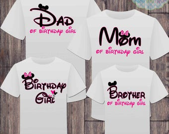 Matching Disney Family Girl Birthday Tshirts - Mickey Minnie Mouse Birthday Girl - Disney Inspired - Matching Birthday Shirts - Minnie Mouse
