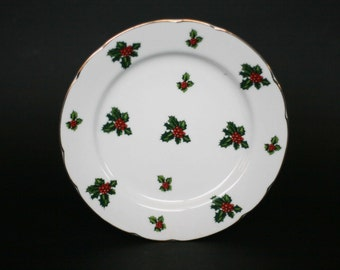 vintage lefton holly plates set of six