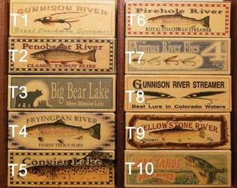 lake house decor fishing lure boxes nostalgic and vintage looking