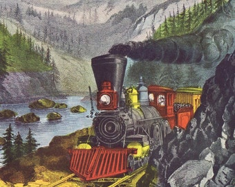CURRIER AND IVES Large Vintage Print 'The Route to California', Perfect for Framing, Train, Railroad Car, Mountains, Sierra Nevada,Americana