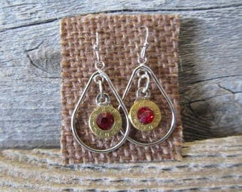 One pair 9mm Earrings with with ruby red crystal  - Ready to Ship Today