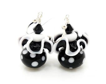 Black and White Earrings, Ruffle Earrings, Geometric Earrings, Lampwork Earrings, Unique Earrings, Glass Bead Earrings, Polka Dot Earrings